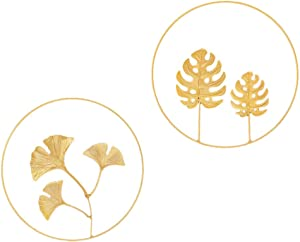 IMIKEYA 2pcs Iron Wall Sculptures Gold Metal Palm Ginkgo Leaf Wall Decor Round Wall Ornaments for Nordic Hawaii Summer Beach Home Decor (Golden)