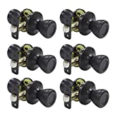 Tulip Passage Door Knobset with Adjustable Latch and Rosettes, Bronze, 6 Pack