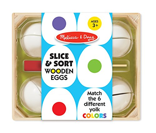 Melissa & Doug Slice & Sort Wooden Eggs (13 pcs) - Play Food Educational Toy in Wooden (Play Eggs)