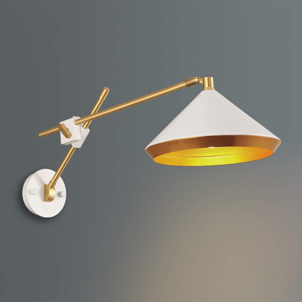 Chuiqingwang 現代のシンプルなledウォールライトアイアン装飾ベッドサイドウォールランプホーム屋内子供寝室廊下研究室クリエイティブ人格レストランカフェベッドサイド読書ウォールランプ(E27電球は含まれていません) (Color : 白) B07SCKCX2G 白