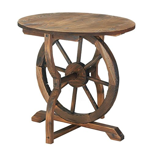 Accent Table, Wagon Wheel Outdoor Round Side Decor Rustic Patio Table
