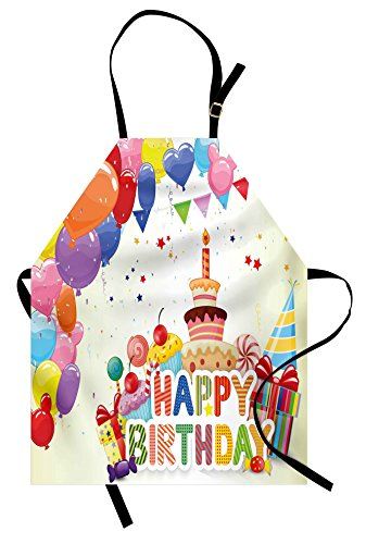 Ambesonne Birthday Apron, Heart Shaped Funny Balloons Cupcak