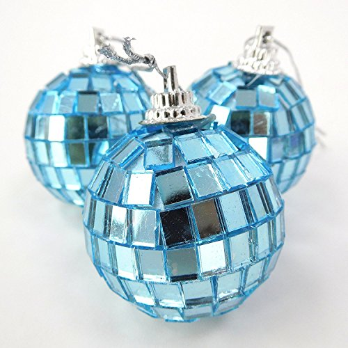 Christmas Concepts Pack of 24-40mm Mirror Baubles - Disco Baubles - Christmas Tree Decorations (Ice Blue)