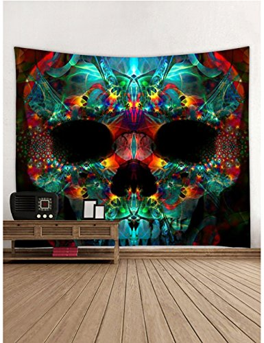 Muuyi Skulls Decorations Collection, Skeleton Skull Design Skeletons All Saints Day Halloween Image, Bedroom Living Room Dorm Wall Hanging Tapestry, Green Red - 80x71 Inches
