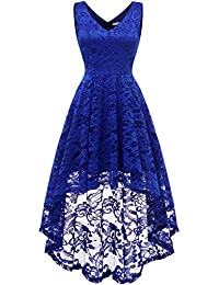 Womens Sleeveless Hi-Lo Lace Formal Dress Cocktail Party Dress V Neck