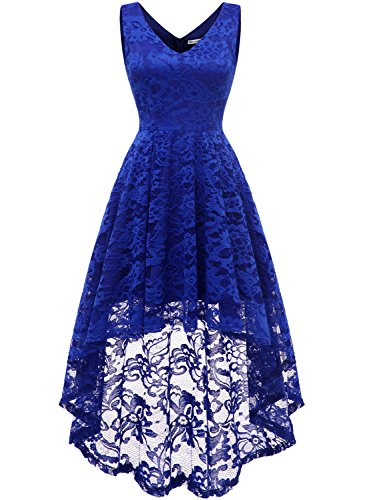 MUADRESS 6666 Women's Sleeveless Hi-Lo Lace Formal Dress Cocktail Party Dress V Neck RoyalBlue Small
