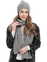 Women Fashion Winter Warm Knitted Scarf and Hat Set Skullcaps