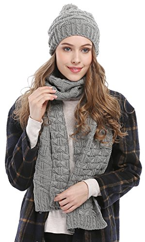 Bienvenu Women Fashion Winter Warm Knitted Scarf and Hat Set Skullcaps,Grey
