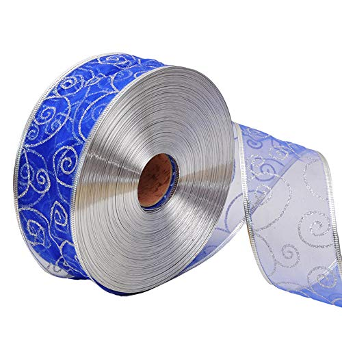 dezirZJjx Christmas Ribbons,200x5cm Glitter Ribbon Wrapping Bow Packaging Belt Xmas Decor - Sapphire Blue