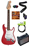 Squier by Fender Mini Strat Electric Guitar Bundle with Amplifier, Instrument Cable, Tuner, Strap, Strings, Winder, Picks, Austin Bazaar Instructional DVD, and Polishing Cloth - Torino Red