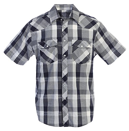 Gioberti Men's Plaid Western Shirt, Navy/Gray, Large