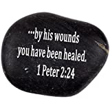 "Holy Land Market Engraved Inspirational Scripture Biblical Black Stones Collection – Stone XIII : 1 Peter 2:24 :"" by his Wounds You Have Been Healed."