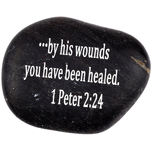 Scripture Stone (Holy Land Market Engraved Inspirational Scripture Biblical Black Stones Collection - Stone XIII : 1 Peter 2:24 :
