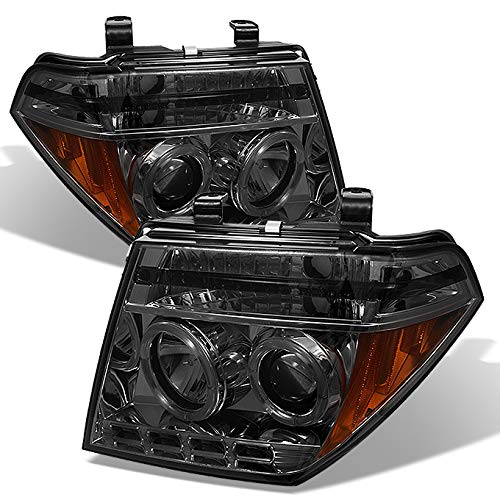 For 2005-2008 Frontier / 05-07 Pathfinder Smoked Smoke Dual Halo Ring Projector LED Headlights Driver Passenger Pair - Halo Headlights Nissan Frontier