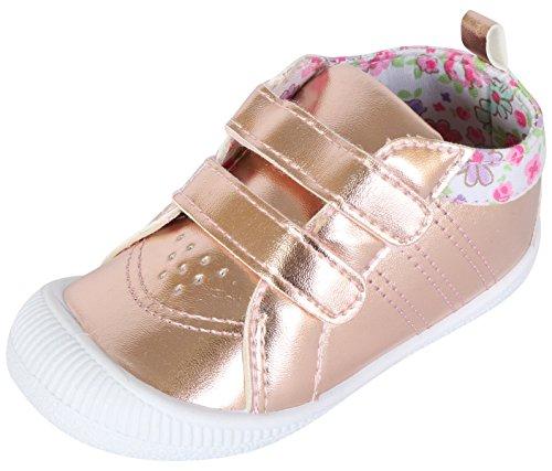 Gerber Baby Girls Metallic Early Walker Rubbersole Sneakers, Rose Gold, 6 M...