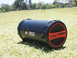AXESS SPBT1031RD Portable Bluetooth Indoor/Outdoor 2.1 Hi-Fi Cylinder Loud Speaker with Built-In 3\