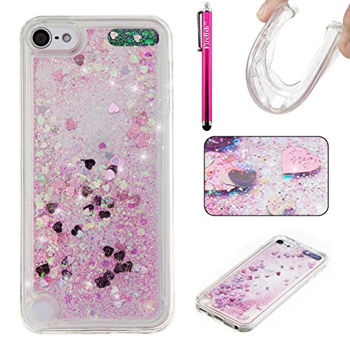 (iPod Touch 5 Case, Firefish Bling 3D Sparkle Floating Dynamic Flowing Shockproof [Flexible] Gel Silicone [No Slip] Back Cover for Apple iPod Touch 5 -Pink)