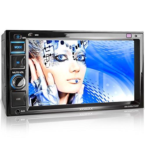 XOMAX XM-2VRSU734BT Autoradio / Moniceiver mit Bluetooth Freisprechfunktion & Musikwiedergabe + 6,2 Zoll / 16 cm Bildschirm ( Touchscreen Display) + LED Beleuchtungsfarbe: blau + Audio und Video über 2x USB Anschluss (jeweils bis 128GB) & Micro SD Kartenslot (bis 128 GB) + Anschlüsse für Rückfahrkamera, Lenkradfernbedienung und Subwoofer + Doppel DIN / 2 DIN Standard Einbaugröße inkl. Fernbedienung, Einbaurahmen