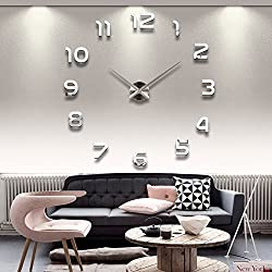 Modern Mute DIY Large Wall Clock Sticker Home Office Decor Gift - Silver