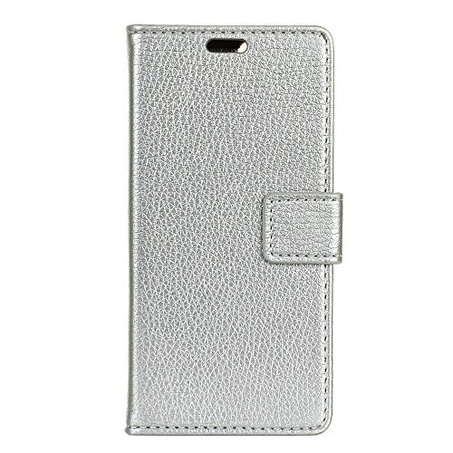 (For Kyocera Android One X3) Flip Wallet Case Cover and 360 Degree Full Body Protective Bumper Cover, Premium Back Shell Material - Silver