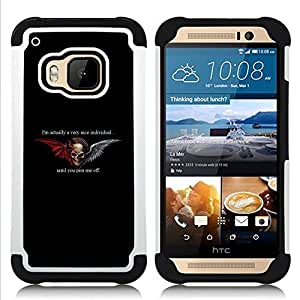 For HTC ONE M9 - WINGS BLACK DEVIL HORNS ANGEL DUALITY Dual Layer caso de Shell HUELGA Impacto pata de cabra con im??genes gr??ficas Steam - Funny Shop -