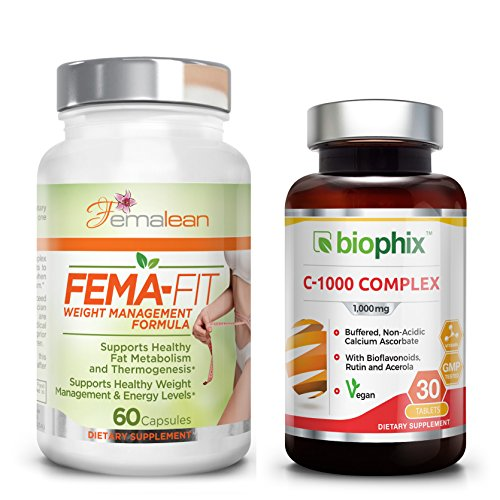 *Flash Sale* FEMA-Fit 500 mg 60 Caps - Free Vitamin C-1000 - Natural |  Thermogenic | Weight Loss | Fat Burner | for Women | Belly Fat Shred |