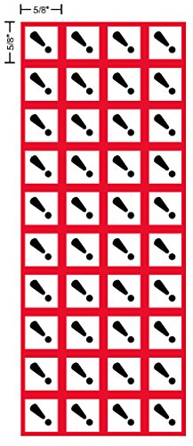 "GHS Irritant, exclamation, pictogram, 5/8"", .625"" sides, decal, label, kit OSHA Compliant, Vinyl Sticker, sheet, 40 of the decals per sheet"