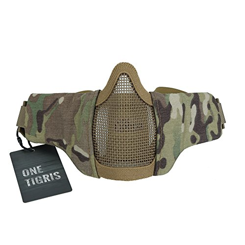 "OneTigris 4.5"" Tactical Foldable Half Face Mask Protective Mesh Mask Fit Women & Teenagers (Multicam)"