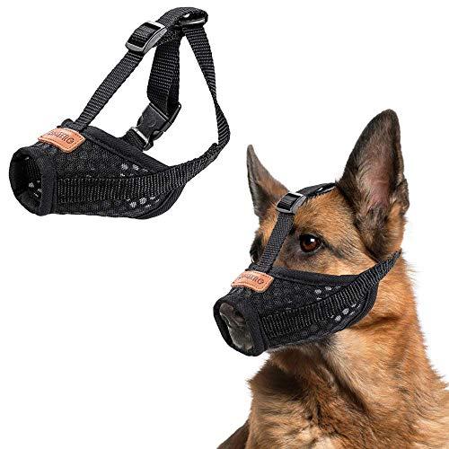 CooZero Dog Muzzle, Nylon Dog Muzzle Mouth Cover, Air Mesh Pet Muzzle for Anti-Biting Anti-Barking Licking Adjustable Pet Mouth Cover (L, Black) Adjustable Dog Grooming Muzzle
