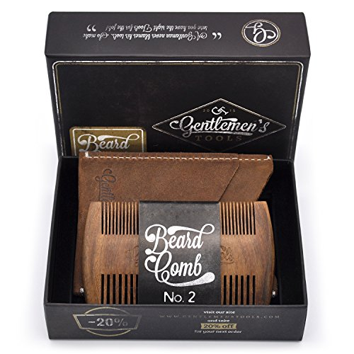 Beard & Hair Comb for Men with Crazy Horse Leather Carrying Case Pouch – Wallet, Natural Organic Sandal Wood, Anti-Static and No Snag, Handmade Wide & Fine Tooth, Packaged in Premium Giftbox