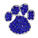 cocojewelry Doggy Dog Pet Paw Print Brooch Pin Necklace Pendant Jewelry (Royal Blue)