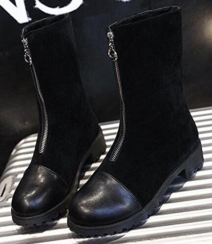 Idifu Womens Stylish Spliced low Chunky Tacco Medio Stivali Da Equitazione A Metà Polpaccio Con Cerniera Frontale Nera