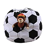 Kids Stuffed Animal Plush Football Toy Storage Bean Bag Soft Pouch Stripe Fabric Chair, Perfect Solution for Kids Bedroom Space Saving