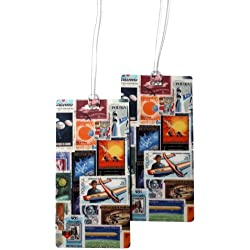 Luggage Tags - Bag Tag Travel ID Set for Suitcase, Baggage, with Designs by 11:11 (Flying Stamps - 2 PC)