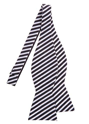 Retreez Striped Woven Microfiber Self Tie Bow Tie - Black and White (White Stripe Self Tie)