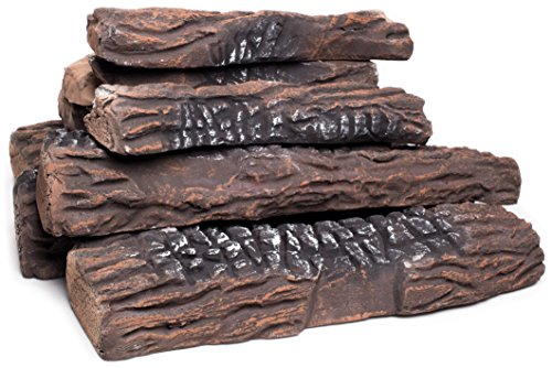 Faux Log (Large Gas Fireplace Logs | 10 Piece Set of Ceramic Wood Logs. Use In Indoor, Gas Inserts, Vented, Electric, or Outdoor Fireplaces & Fire Pits. Realistic Clean Burning Accessories)