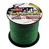 Ashconfish Super Strong Braided Fishing Line-4 Strands Fishing Wire 300M/328Yards Fishing String 12LB-Abrasion Resistant Incredible Superline Zero Stretch Small Diameter -Moss Green
