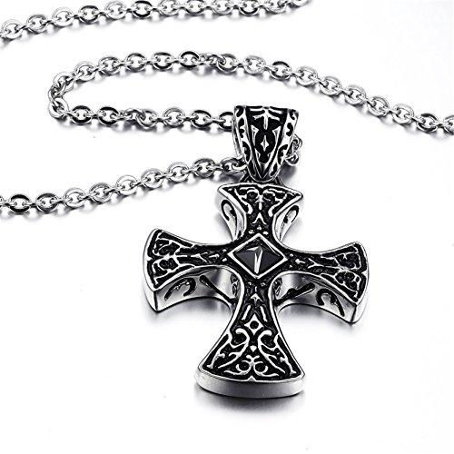 Jiayiqi En Acier Inoxydable Simple Hommes Croix Pendentif Collier Bijoux