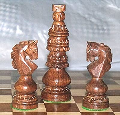 "Holly Chruch Design Chess Set King 4"" 32 Wooden Handmade Chess Pieces"
