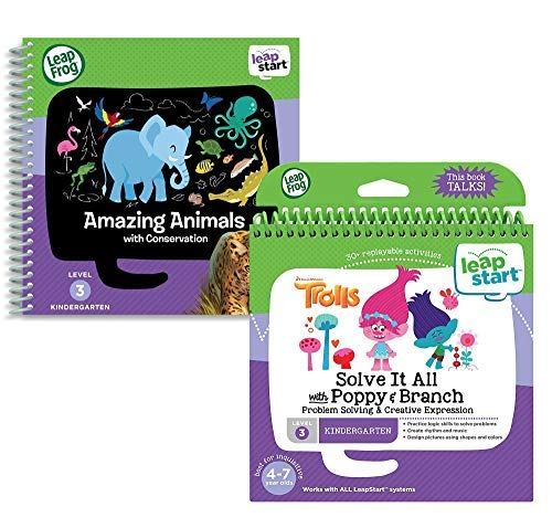 LeapStart Level 3 Kindergarten Activity Book Bundle (Solve It All with Poppy & Branch / Amazing Animals)