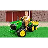 Peg Perego John Deere Ground Force 12-volt Tractor Ride-On, Kids' tractor ride-on looks like a real John Deere tractor