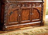 "Ashley North Shore D553-80 70"" Dining Room Buffet with Carved and Molding Details 6 Drawers and Decorative"