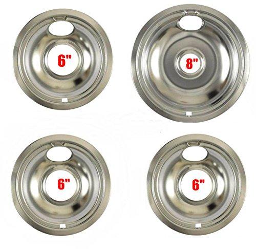 """406405RW3-1) W10196405 - W10196406 Whirlpool Range Large 8"""", 6"""" Steel Drip Bowl Pan Replaces PS11750107, AP6016814, WPW10196405, W10196405, W10196406, WPW10196406, W10196405RW, W10196406RW"""