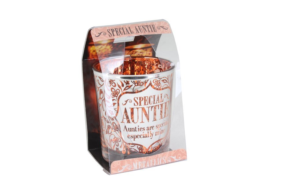 H&H Metallics Personalised Candle Pot: Auntie History & Heraldry