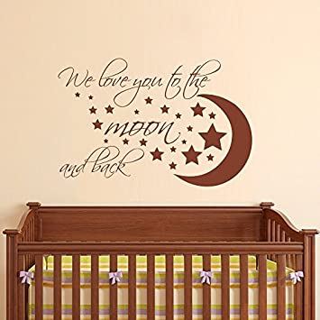 amazon com wall decal decor we love you to the moon and back
