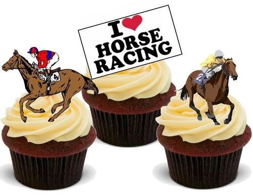 HORSE RACING MIX - 12 Edible Stand Up Premium Wafer Cake -