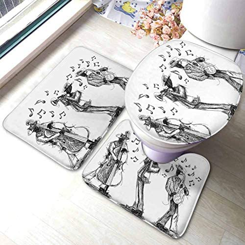 Jazz Music Decor Bath Mat Rug 3 Piece Set Sketch Style of a Jazz Band Playing MusicInstruments and Musical Notes Print U-Shaped Toilet Mat Toilet Lid Cover Black White / Jazz Music Decor Bath Mat Rug 3 Piece Set Sketch Style of a J...