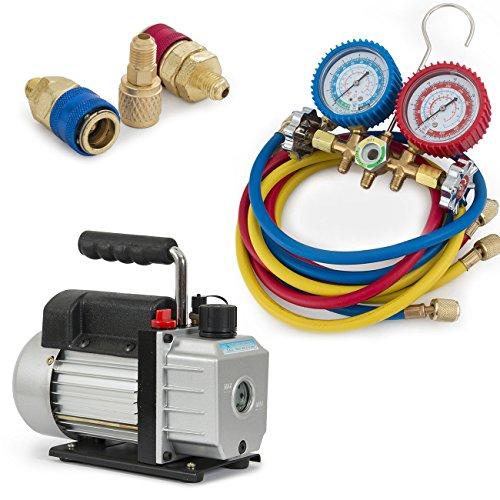 ARKSEN Deluxe Manifold Gauge A/C, 3CFM Vacuum Pump, 5ft HVAC