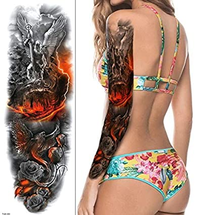 4 UNIDS, tatuaje hombres manga del brazo etiqueta engomada del ...