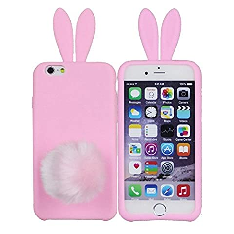 iPhone 4 4S Case, Anya 3D Fashion Cute Flower Bow Ears Classic Cartoon Animal Soft Rubber Robot Silicone Back Shell Case Cover Skin for Apple Iphone 4 4S Rabbit (Iphone 4 Case Artsy)